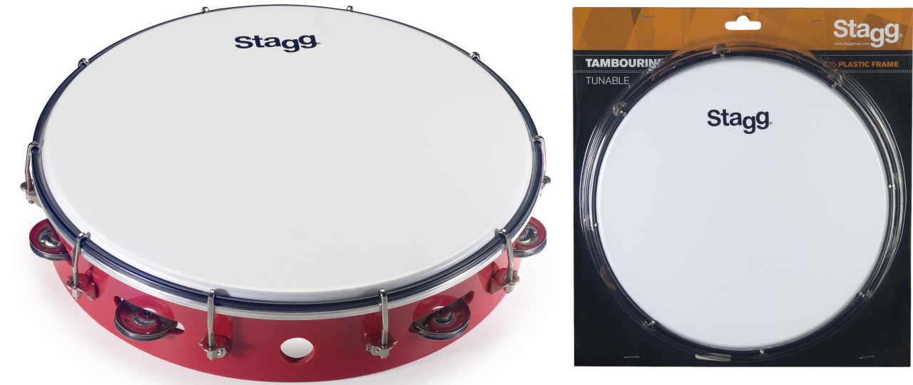 """12"""" Tuneable plastic tambourine with 1 row of jingles"""