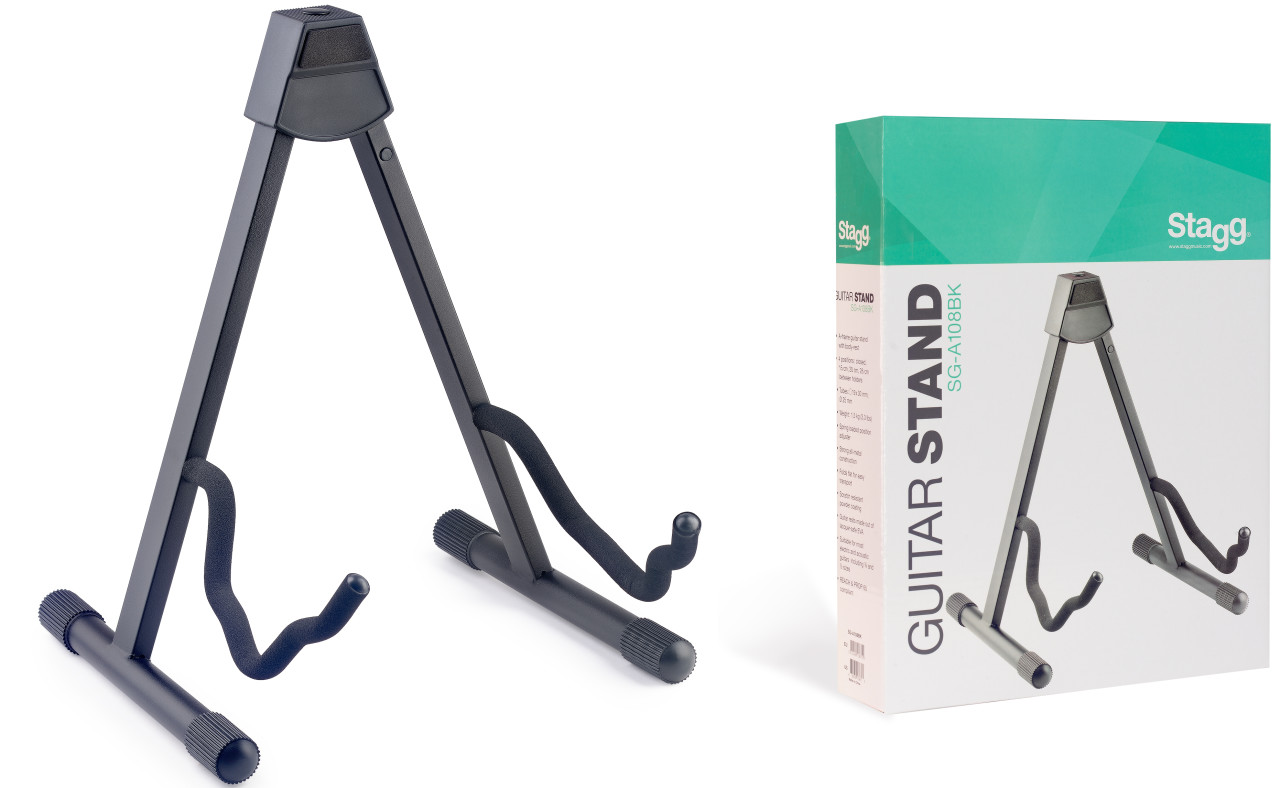 Foldable A-frame stand for acoustic, electric or bass guitar