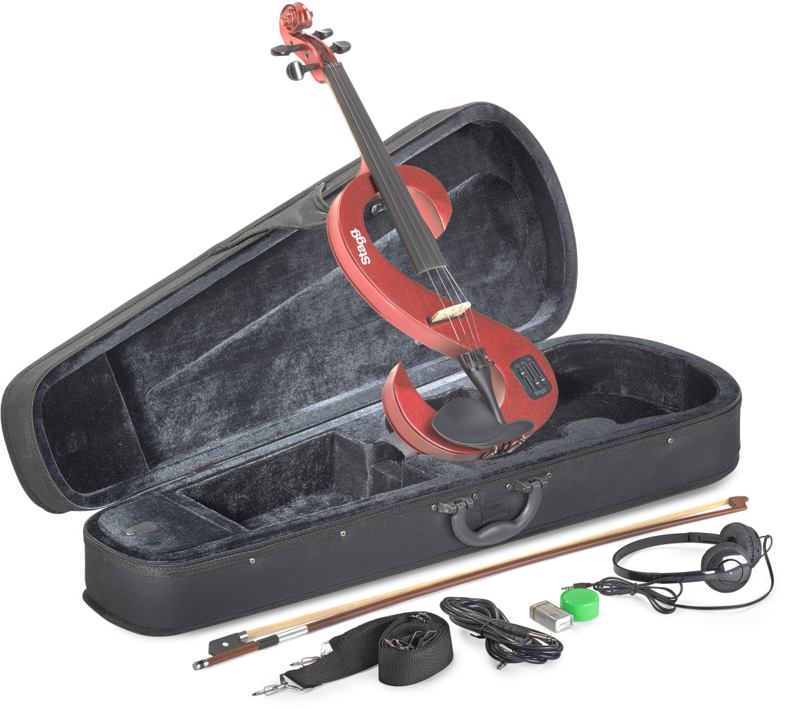 4/4 electric violin set with S-shaped metallic red electric violin, soft case and headphones