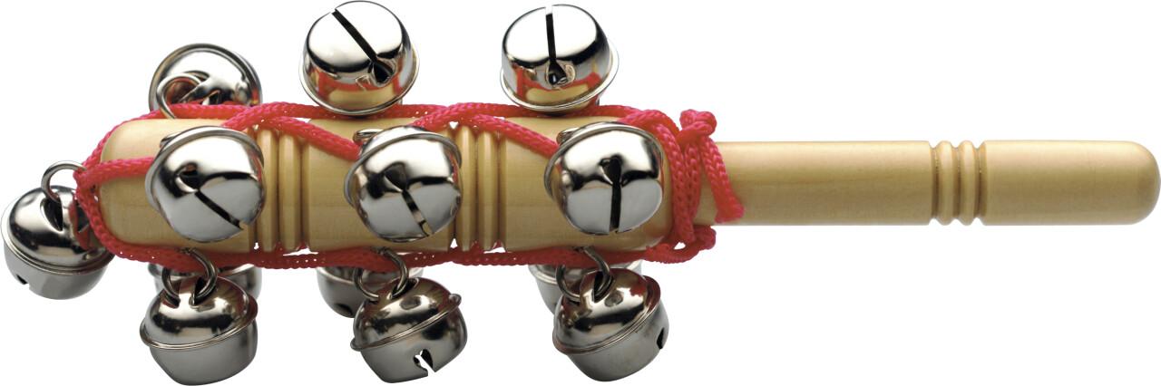 Set of sleigh bells on a stick, 13 bells