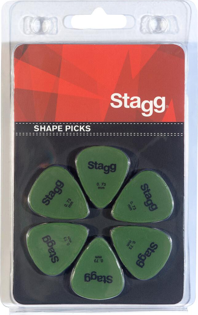 Set van 6 Stagg 0,73 mm plastic plectrums, standaardmodel