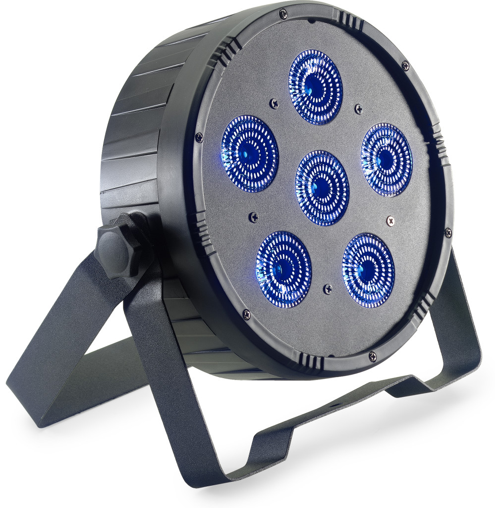 Flat ECOPAR 6 spotlight with 6 x 12-watt RGBWAUV (6 in 1) LED