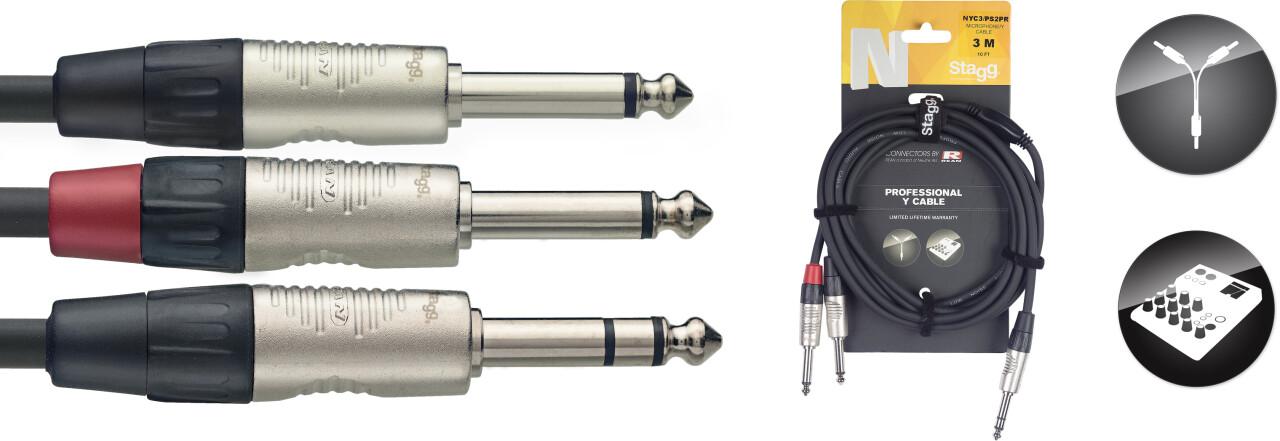 N-Serie Y-kabel - Stereo Jack M / 2 x Mono Jack