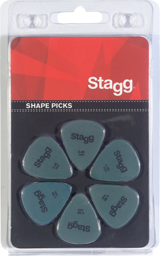 Pack of 6 Stagg 0.88 mm standard plastic picks