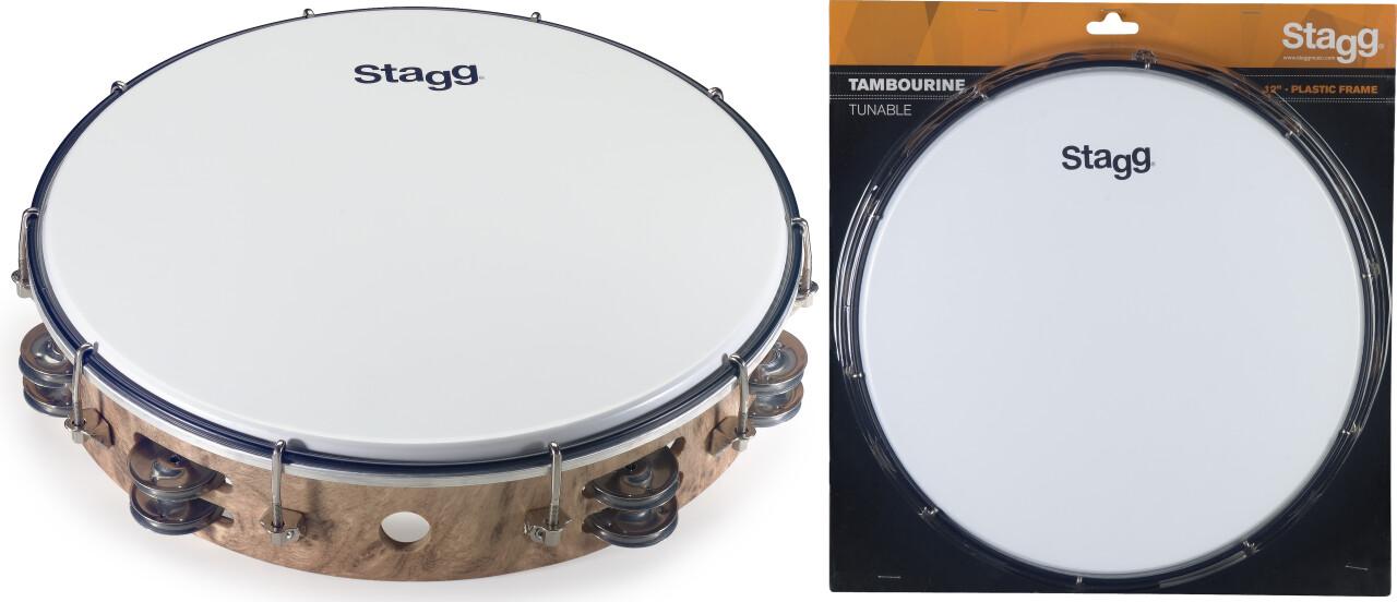 """Tambourin accordable en plastique 12"""" avec 2 rangées de cymbalettes"""