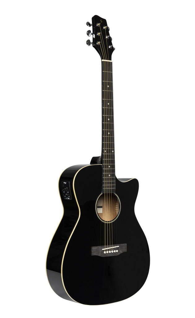 Cutaway acoustic-electric auditorium guitar, black