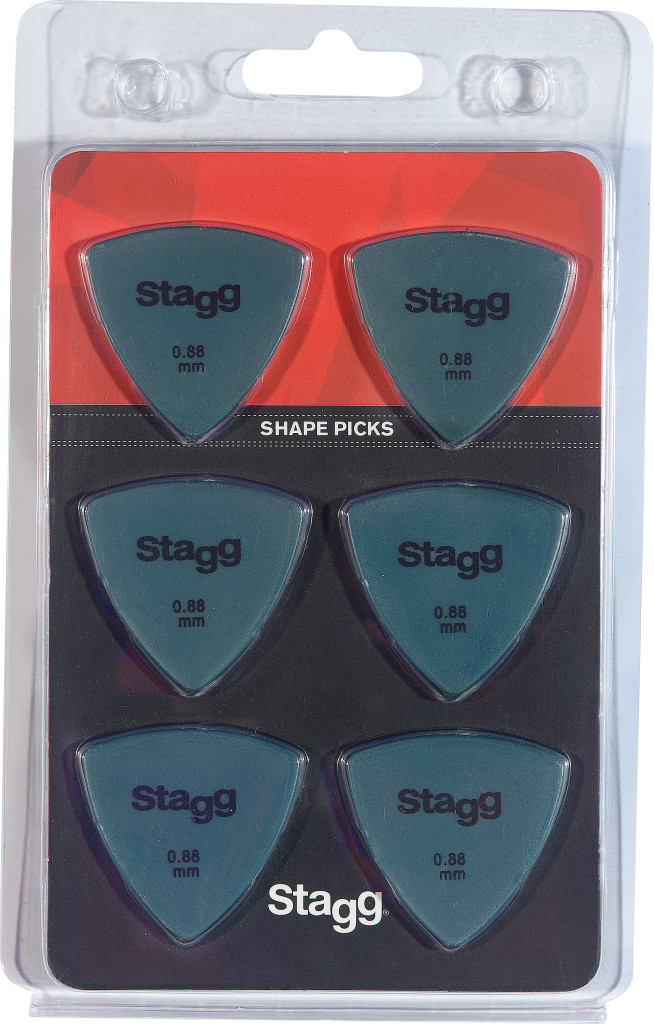 Lot de 6 plectres triangulaires Stagg de 0,88 mm en plastique