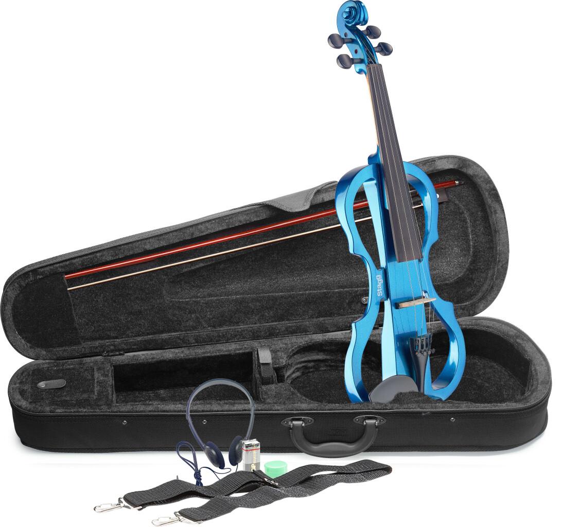 Pack violon électrique 4/4 avec violon électrique bleu métallique, étui semi-rigide et casque