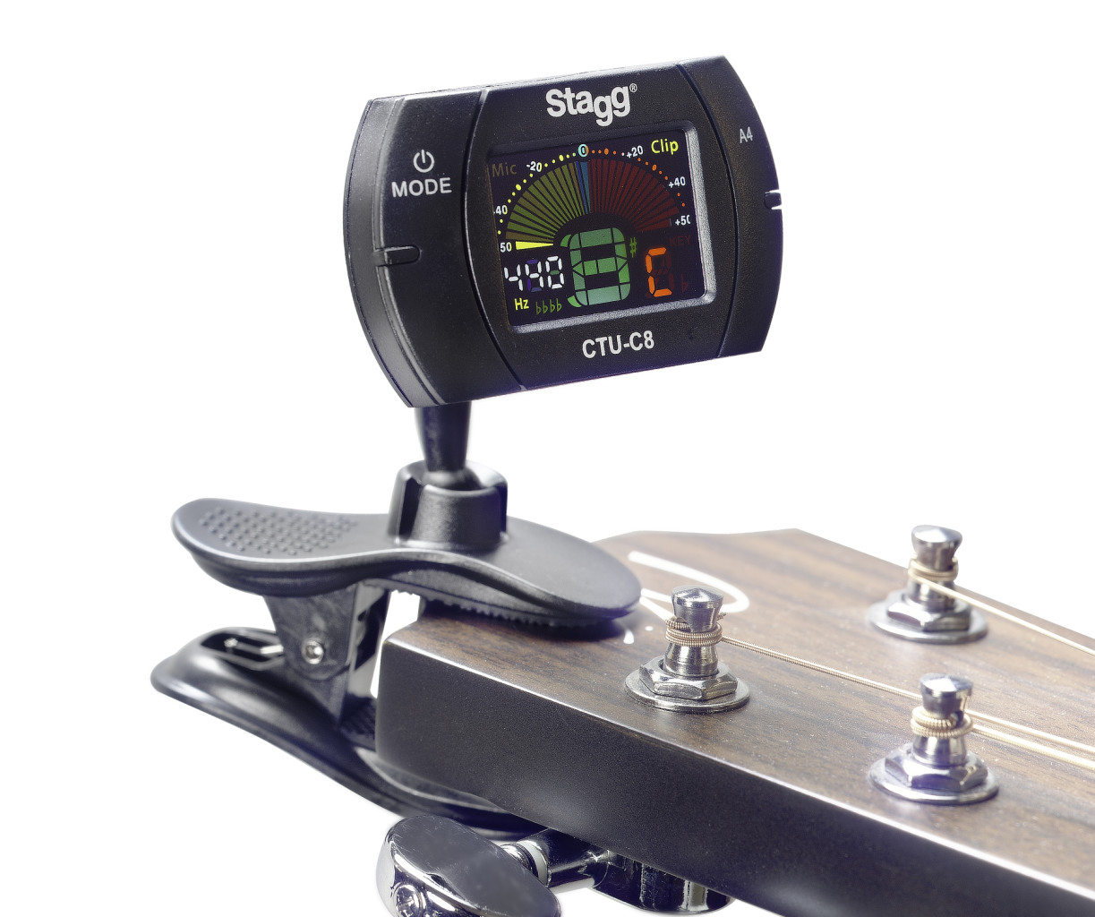Black automatic chromatic clip-on tuner, 430 to 450 Hz calibration