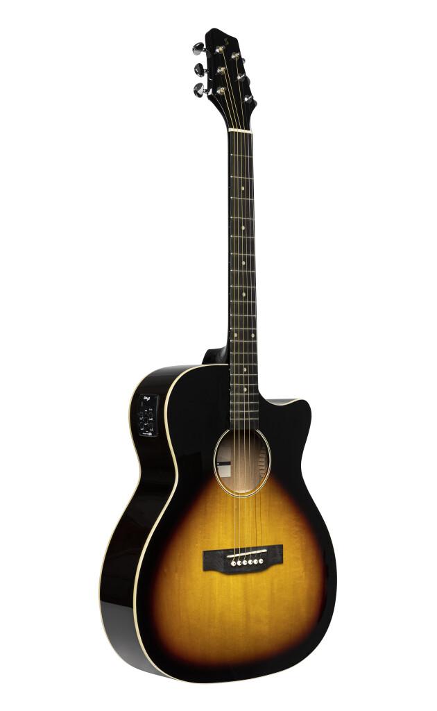 Guitare auditorium électro-acoustique avec pan coupé, sunburst