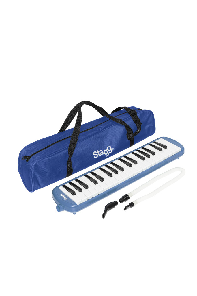 Blue plastic melodica with 37 keys and black bag