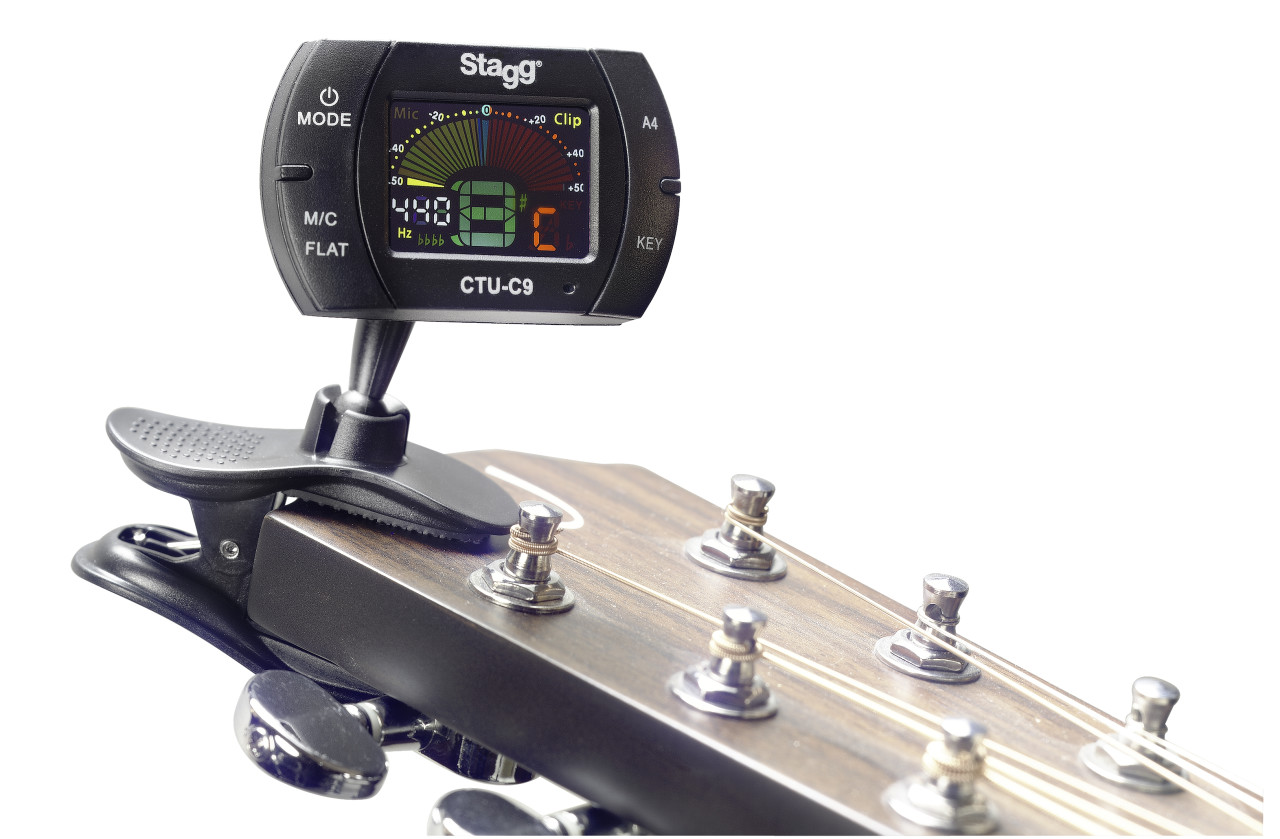 Multifunction black automatic chromatic clip-on tuner with microphone