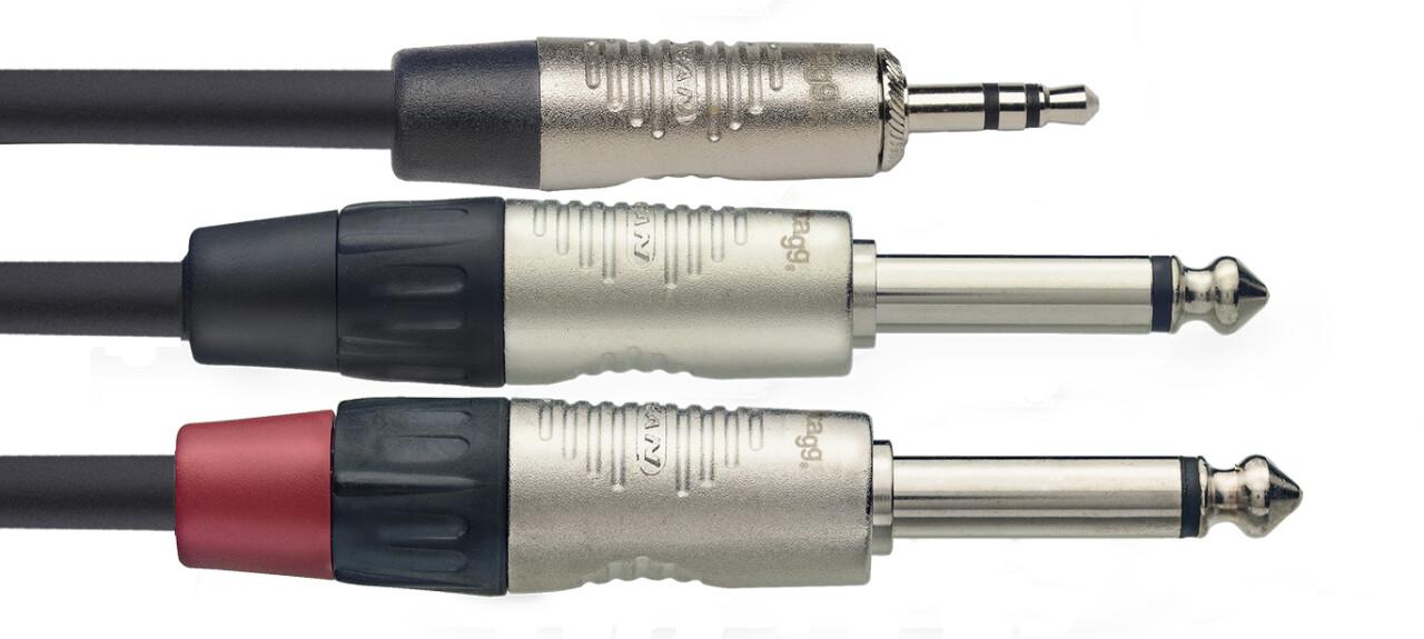 N series Y-cable, mini jack/jack (m/m), stereo/mono, 3 m (10')