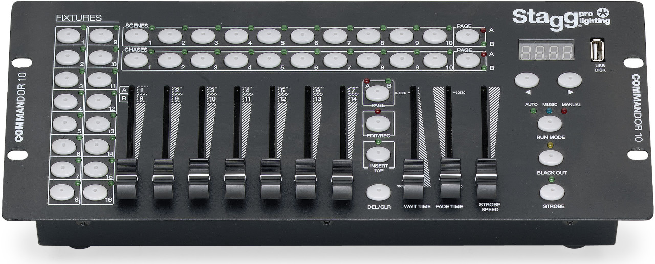 Console lumière DMX pour 16 projecteurs, 14 canaux par projecteur