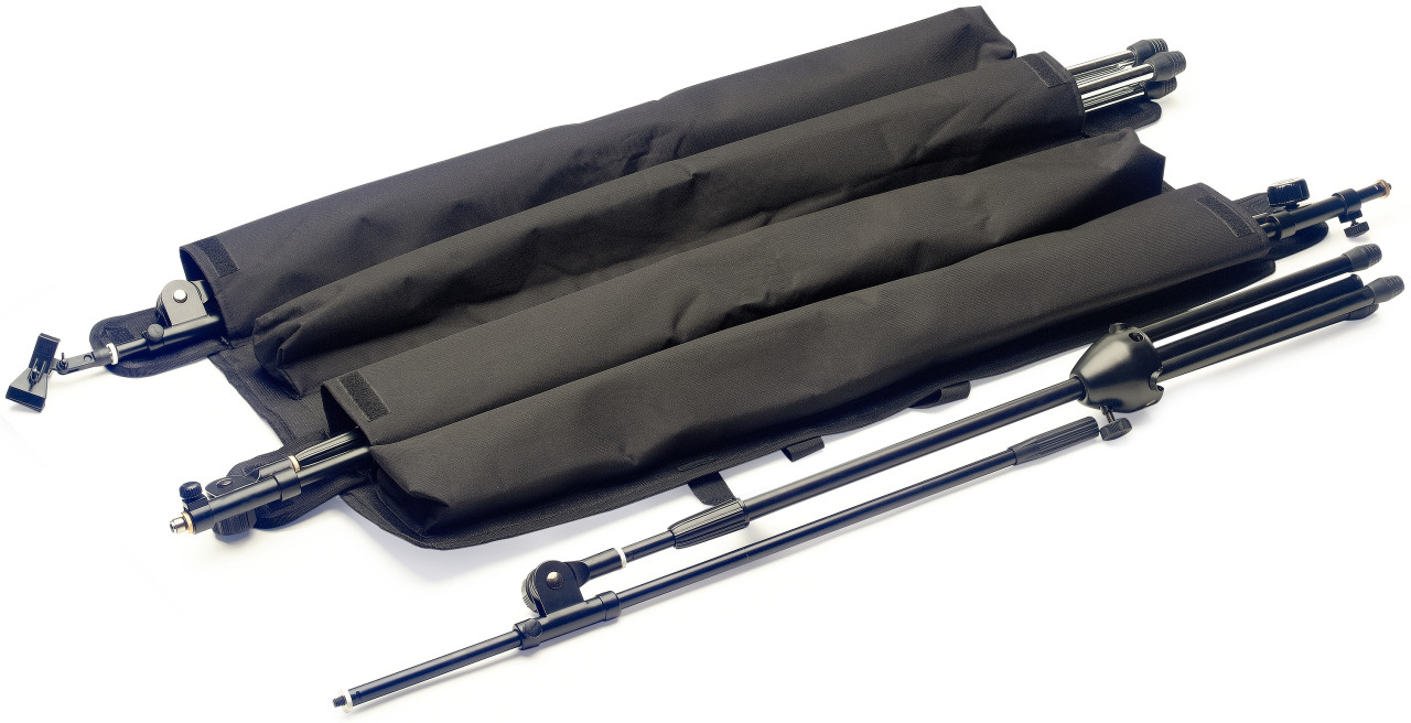 Strong BLACK nylon wraparound bag with inner pouches for 4 x Mic stands