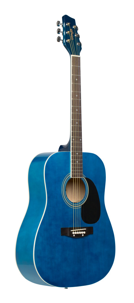 Blue dreadnought acoustic guitar with basswood top