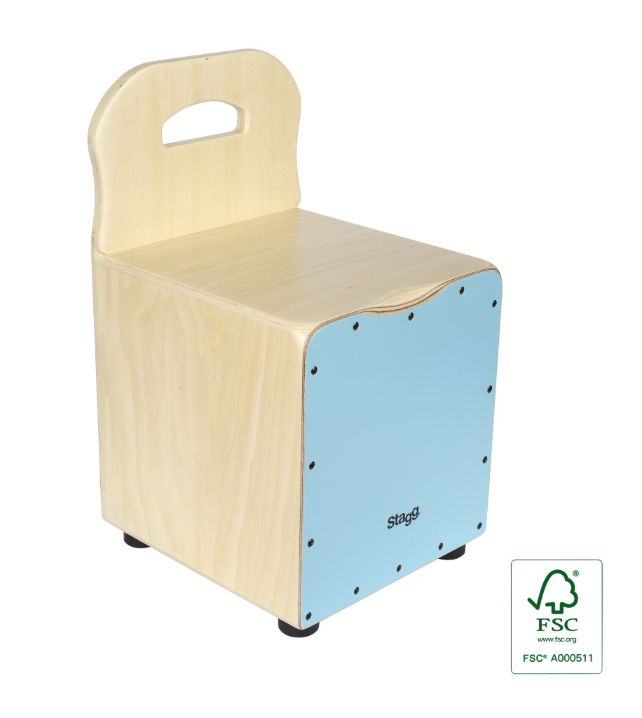 Basswood kid's cajón with EasyGo backrest, blue front board