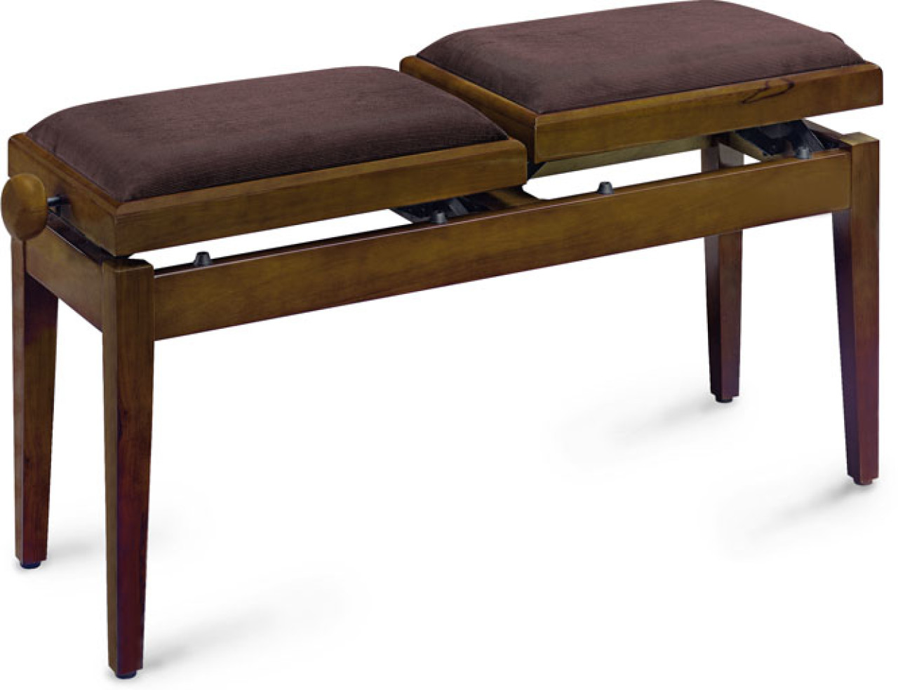 Twin piano bench, walnut colour, matt, with fireproof brown velvet top