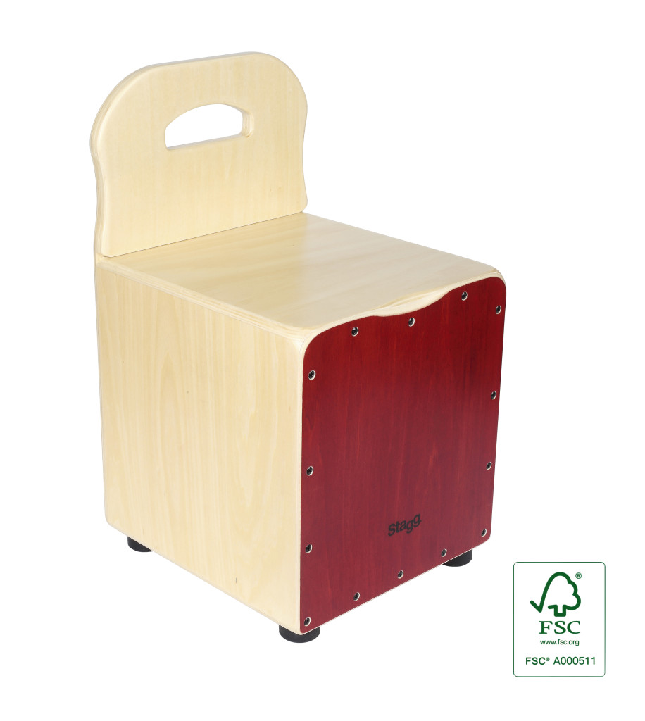 Basswood kid's cajón with EasyGo backrest, red front board