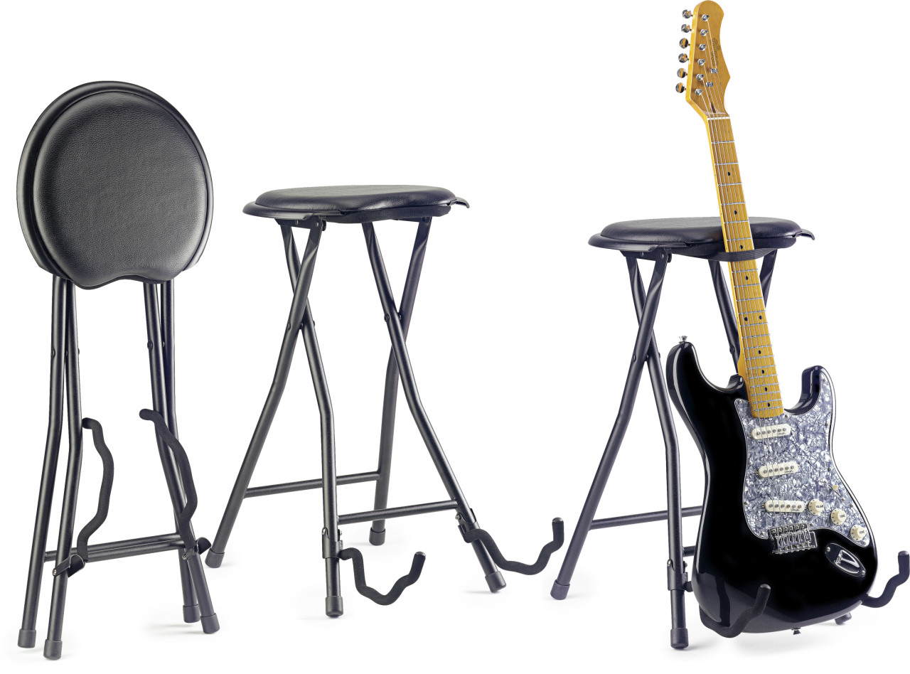 Runder Klapphocker mit eingebautem Gitarrenständer