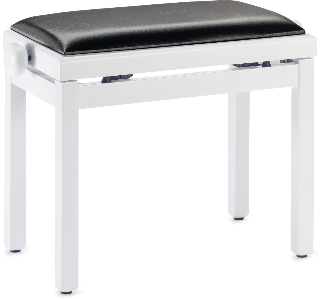 Matt white piano bench with black vinyl top