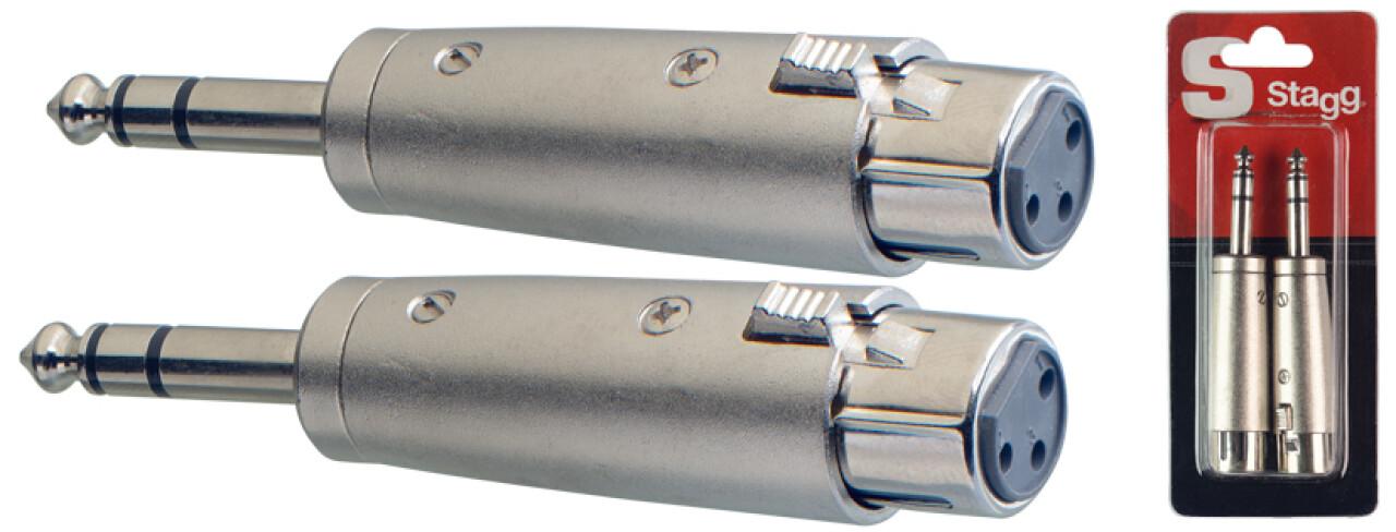 2 x Male stereo phone-plug/symetrical female XLR adaptor in blister pack