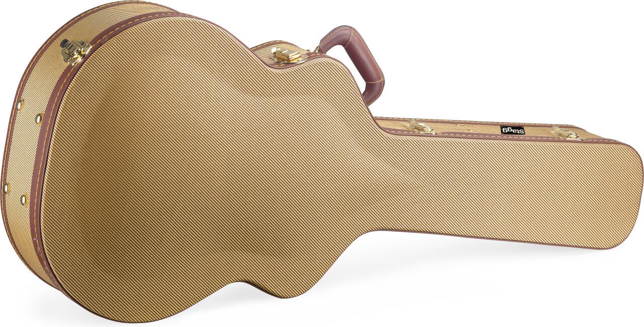 Etui rigide Deluxe en tweed doré pour guitare jumbo, série Vintage-style