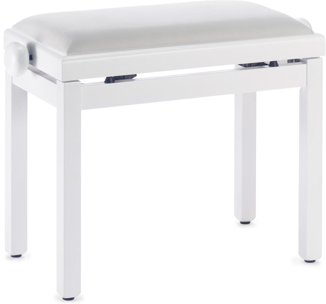 Banquette de piano, couleur blanc mat, avec pelote en velours blanc