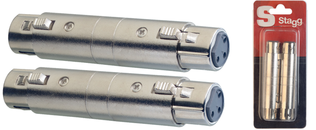 2x Female XLR/ female XLR adaptor in blister packaging