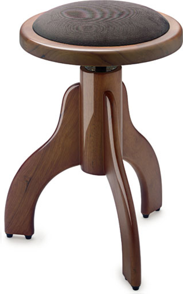 Highgloss piano stool, walnut colour, with brown velvet covering