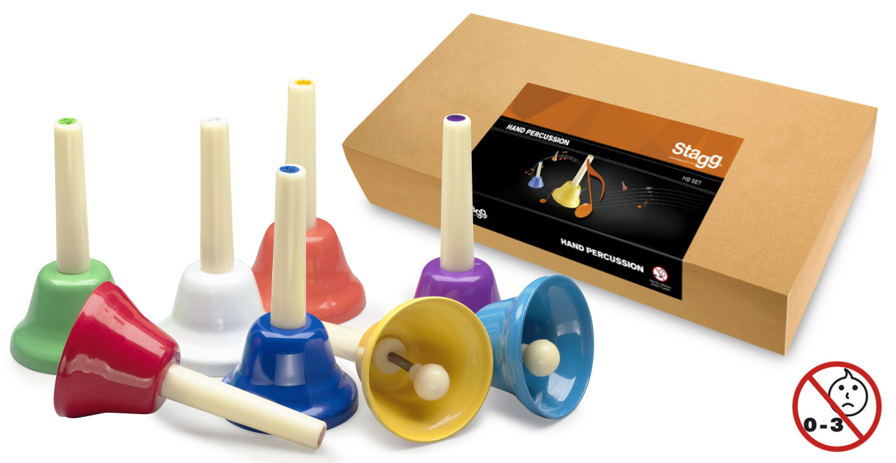 8-note handbell set (colour-coded)