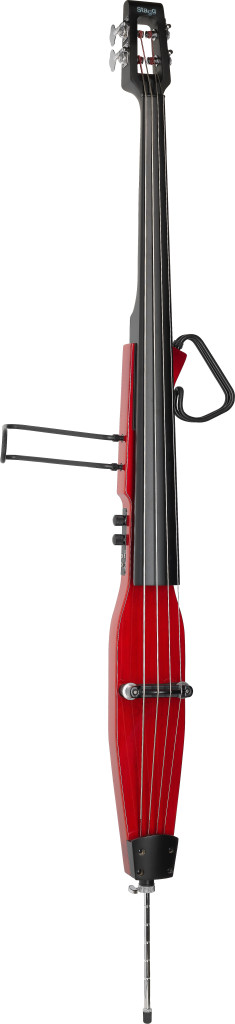 3/4 electric double bass with gigbag, transparent red