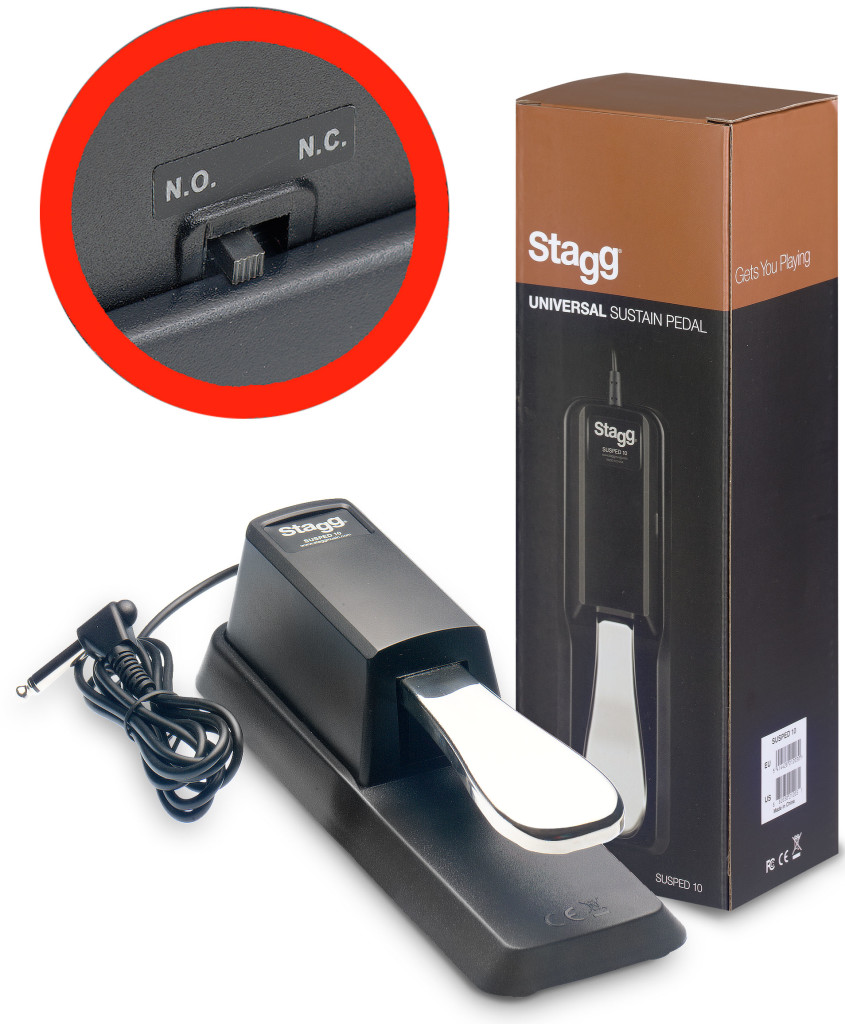 Universal sustain pedal for electronic piano or keyboard, with polarity switch