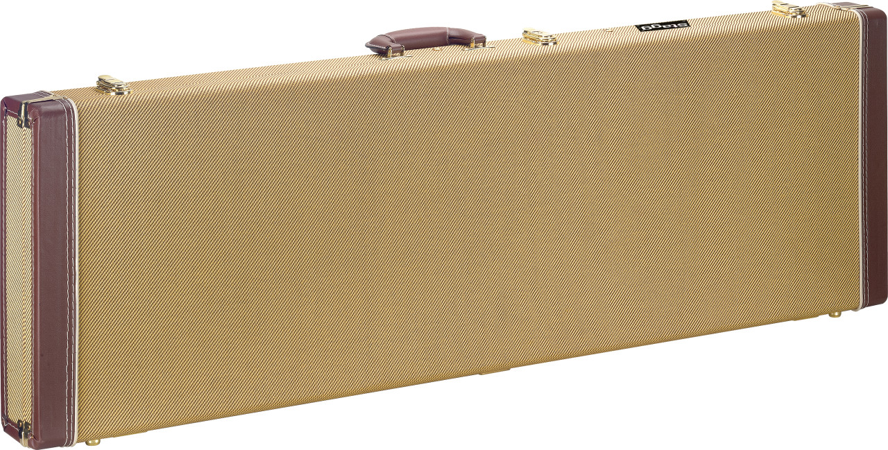 Vintage-style series gold tweed deluxe hardshell case for electric bass guitar, square-shaped model