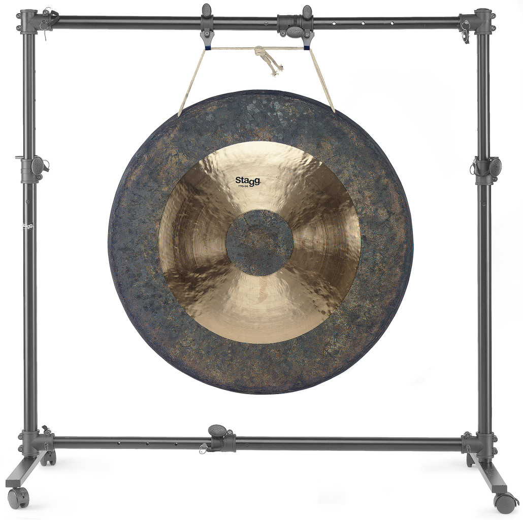 "Adjustable stand for 51""-diameter gong or smaller, on wheels"