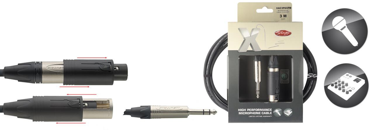 Câble audio XLR convertible m/f ==> jack, série