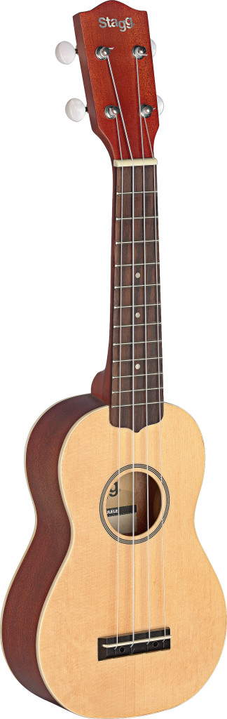 Traditional soprano Ukulele with solid spruce top, in black nylon gigbag