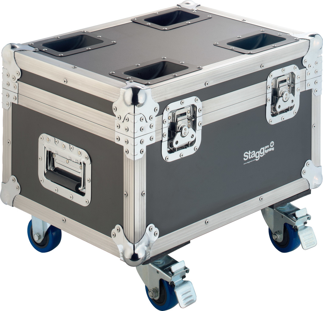 Wooden flight case for 4x Cyclops 60 or other moving heads, on wheels
