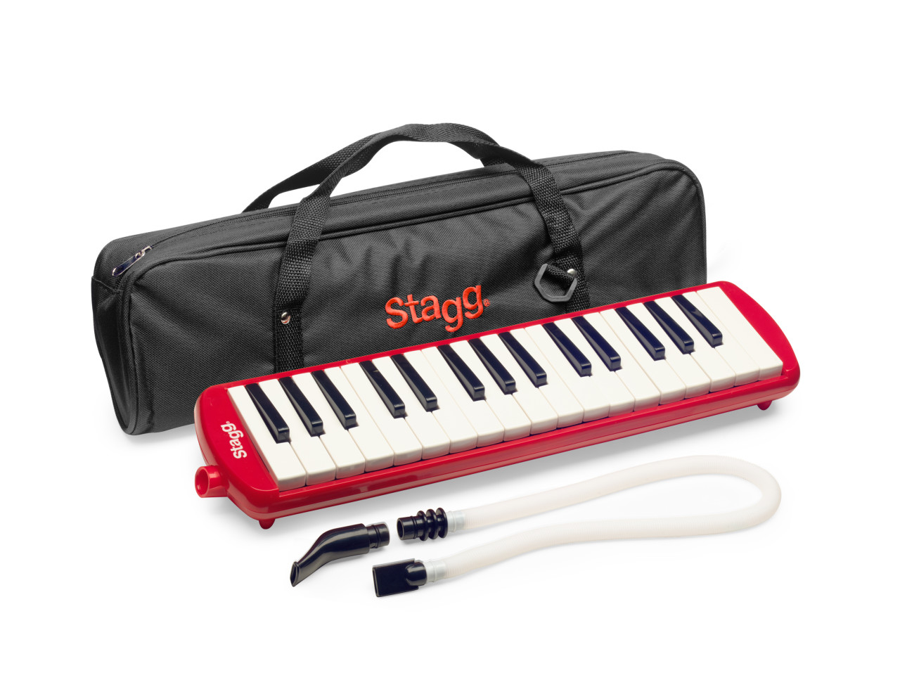 Red plastic melodica with 32 keys and black and red bag