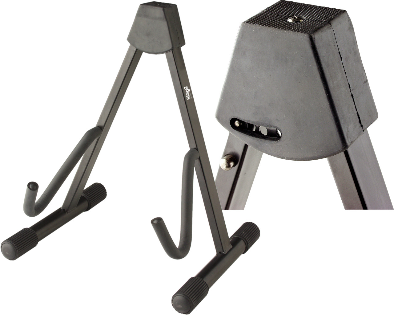 Foldable A-frame stand for electric or bass guitar