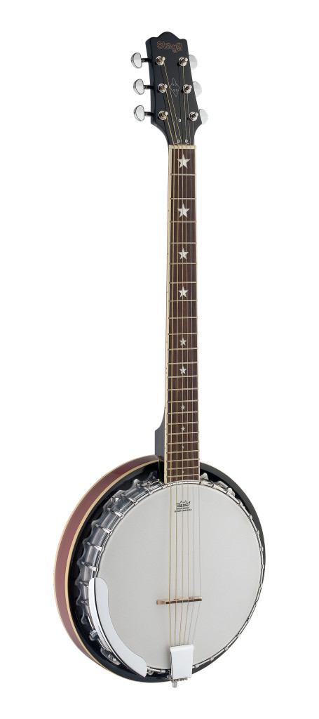 6-string Deluxe Bluegrass Banjo with metal pot, guitar headstock & tuning