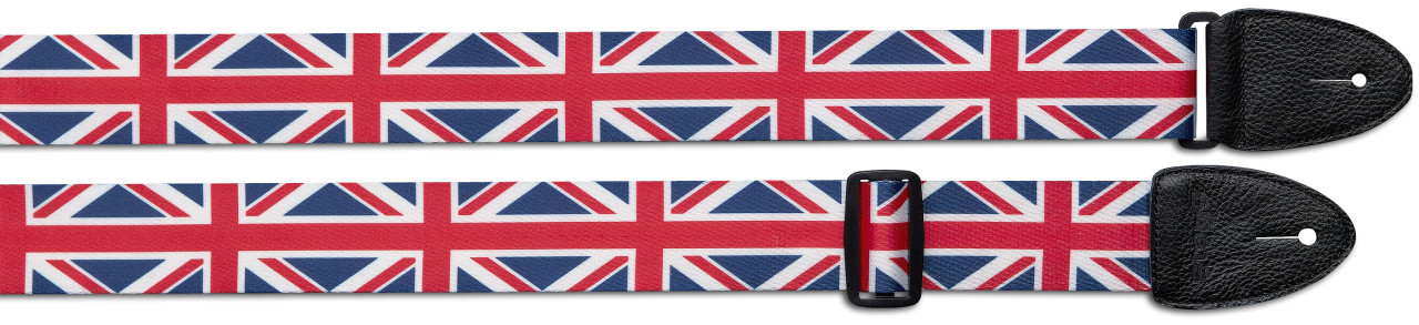 Terylene guitar strap with UK flag pattern