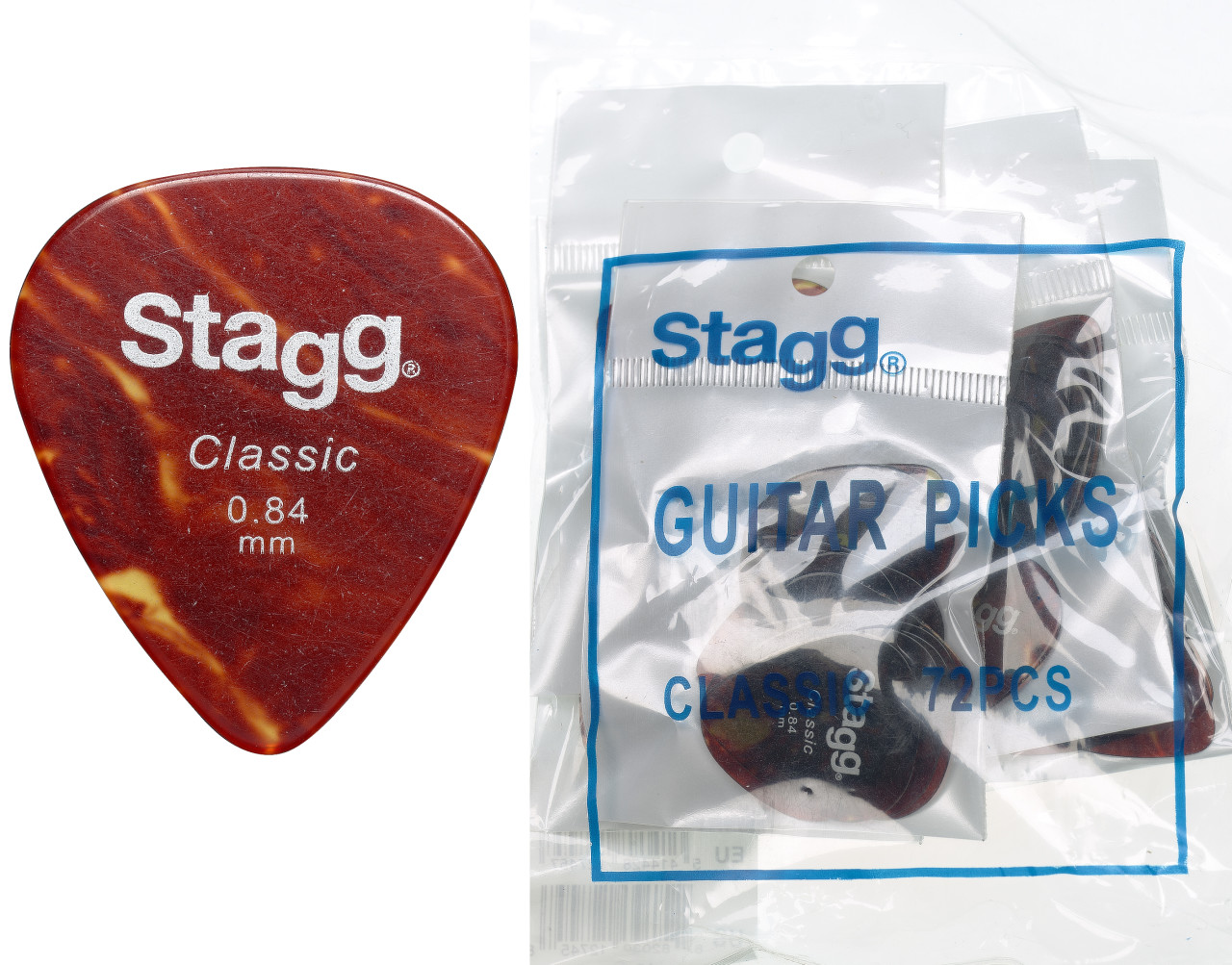 .84 mm Classic Standard Refill bag (72 picks) - Tortoiseshell
