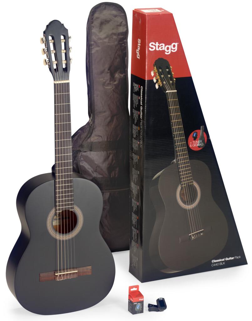 Pack comprenant 1 guitare classique 4/4 noire, 1 accordeur, 1 housse et 1 boîte