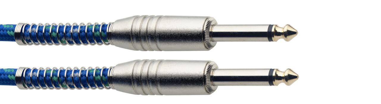 Câble instrument, jack/jack (m/m), 6 m, bleu, style vintage tweed, série S
