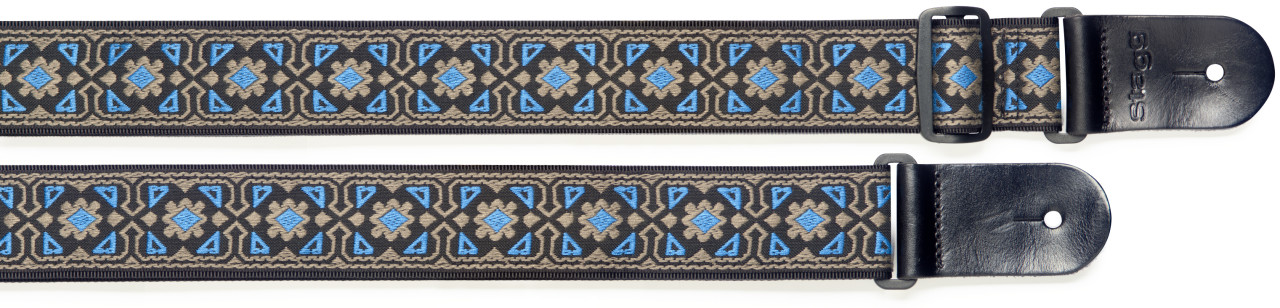 Woven nylon guitar strap with flower pattern