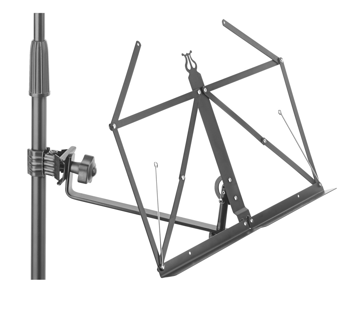 Foldable music stand arm with clamp and lyra design