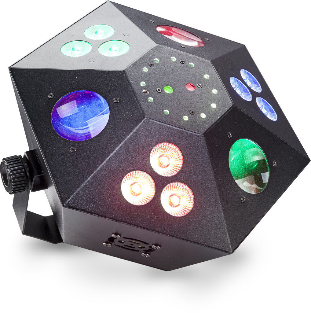 Multi-effects box with red and green lasers, 3 colour wash, strobe and LED flower