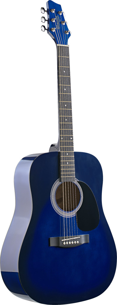 4/4 acoustic dreadnought guitar with blueburst basswood top