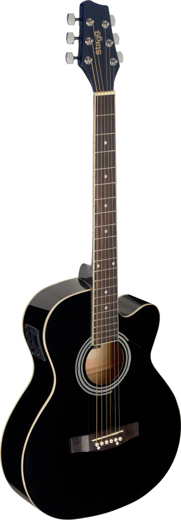 Black Auditorium cutaway acoustic-electric guitar with basswood top